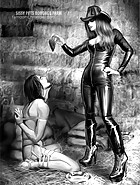 Sexy dominatrix bitches administer unmerciful sissy slave training in a special closed femdom facility